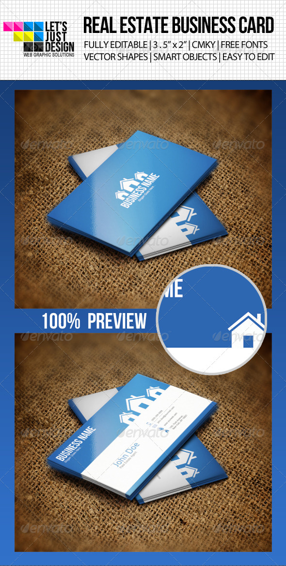 Clean Real Estate Business Card - Industry Specific Business Cards