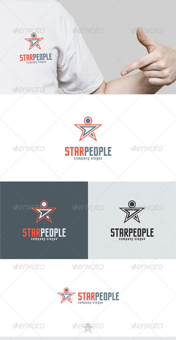 Star People Logo - Vector Abstract