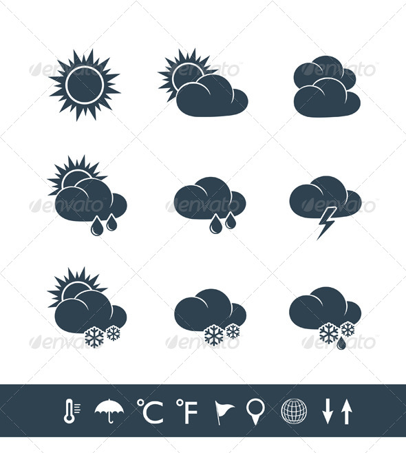Weather Icons Black and White - Seasons Nature