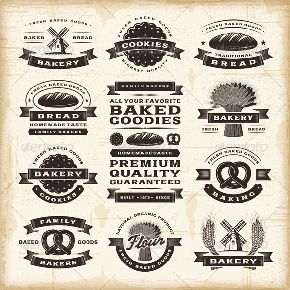 Vintage Bakery Labels Set - Decorative Symbols Decorative