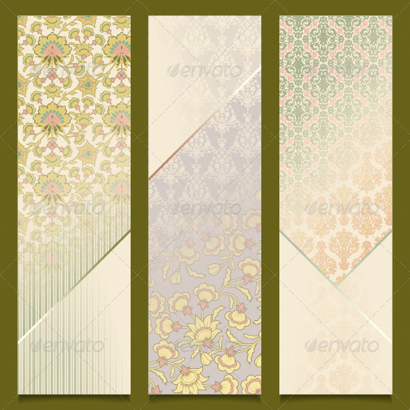 Vintage Vector Banners Retro Pattern Design Set - Backgrounds Decorative