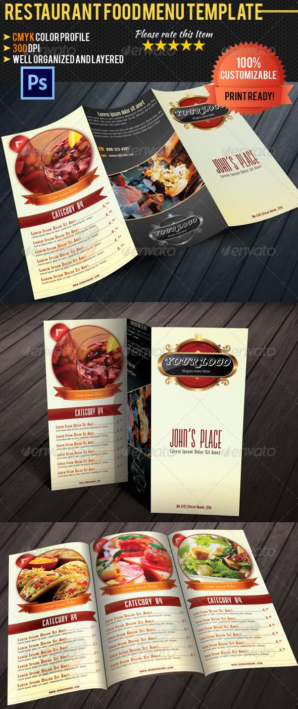 Tri-fold Restaurant Food Menu Template - Food Menus Print Templates