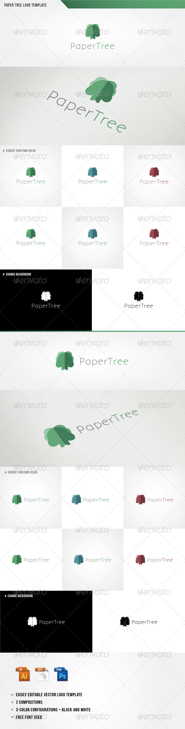 Paper Tree Logo Template - Nature Logo Templates