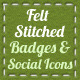 Felt Stitched Badges Ribbons and Social Icons - GraphicRiver Item for Sale