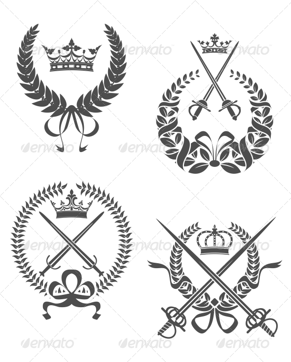 Retro Laurel Wreathes - Miscellaneous Vectors