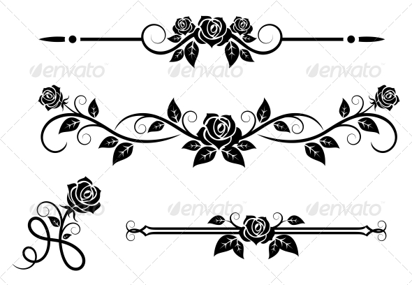 Rose Flowers with Vintage Elements - Borders Decorative