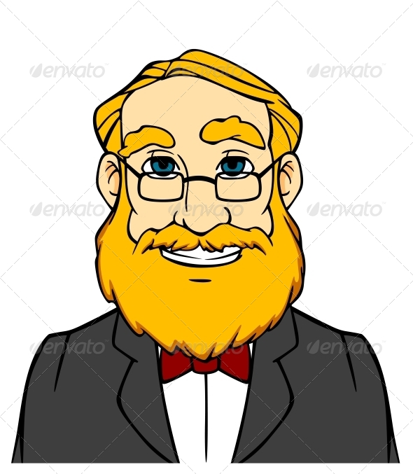 Smiling Man with Orange Beard - People Characters