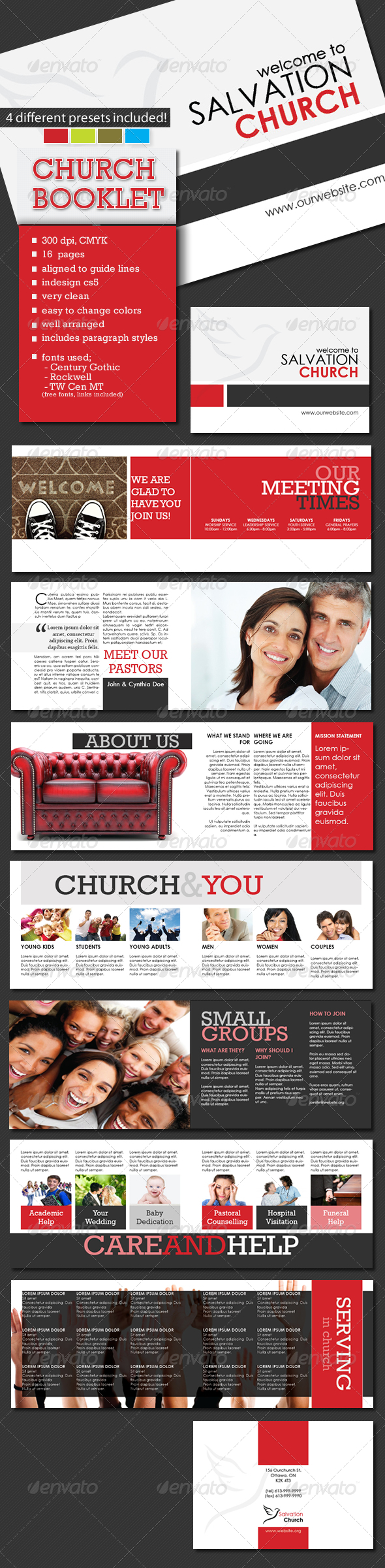 A5 Church Booklet Template - 16 Pages - Informational Brochures