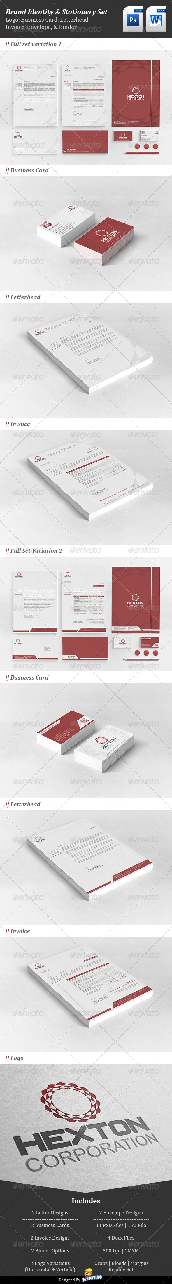 Corporate Brand Identity : Hexton Corporation - Stationery Print Templates