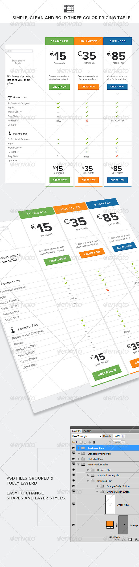 Simple, Clean and Bold Three Color Pricing Table - Tables Web Elements