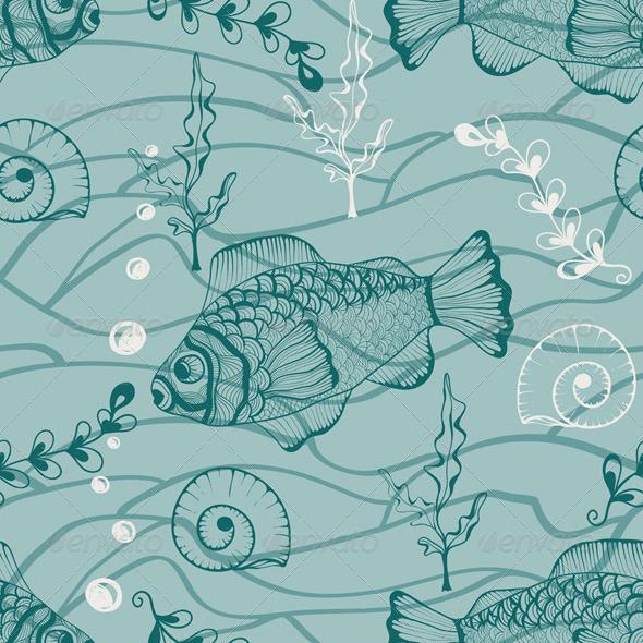 Vector Seamless Underwater Pattern - Patterns Decorative