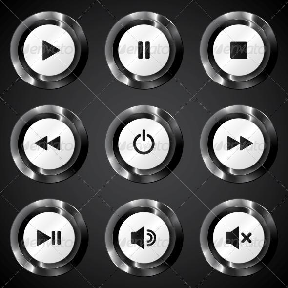 Black Metallic Vector Power Buttons Set - Media Technology