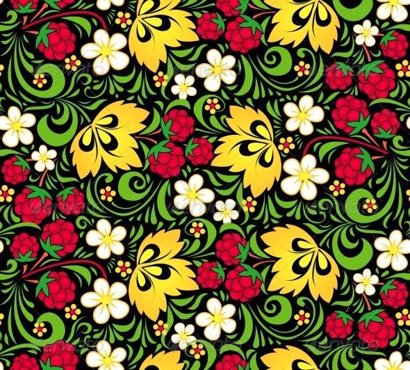 Vector Pattern Traditional Russian Style Hohloma - Decorative Symbols Decorative