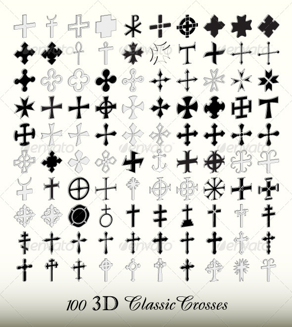 Collection of 100 Isolated Classic Crosses in 3D - Religion Conceptual