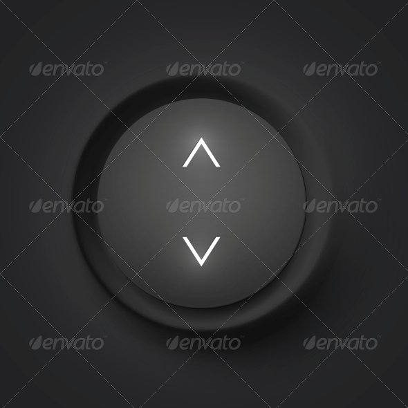 Black Vector Button with Arrows - Media Technology