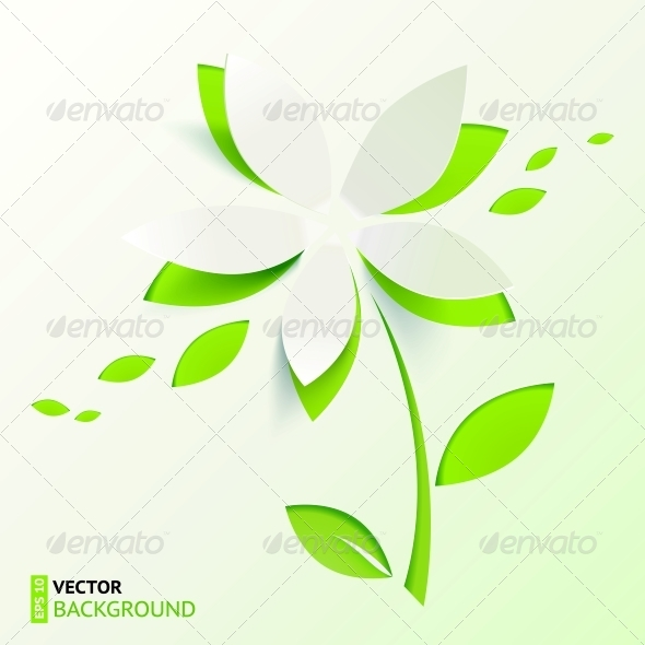 Green Paper Cutout Vector Flower - Flowers & Plants Nature