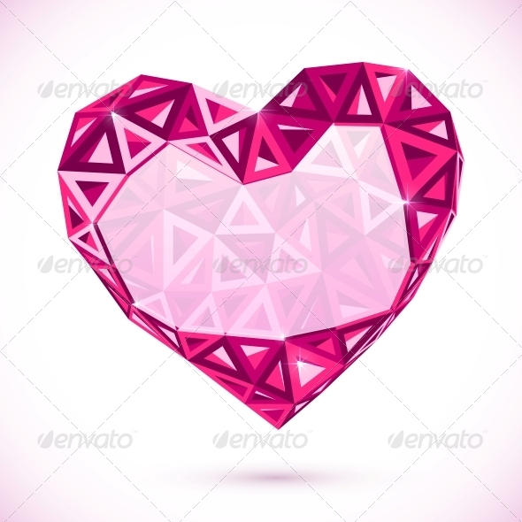 Pink Abstract Valentines Day Heart with Triangles - Valentines Seasons/Holidays