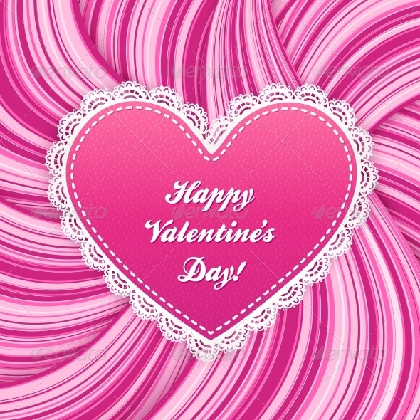 Pink Vector Lacy Heart on Wavy Lines Background - Valentines Seasons/Holidays