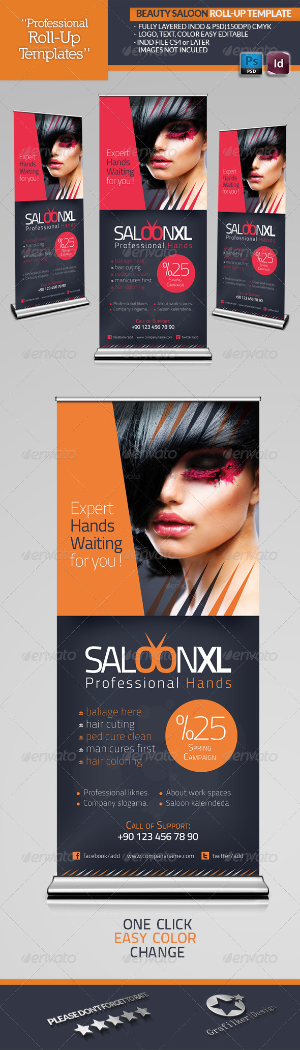 Beauty Saloon Roll-Up Template - Signage Print Templates