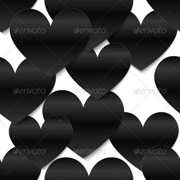 Black Glossy Vector Paper Hearts, White Background - Valentines Seasons/Holidays