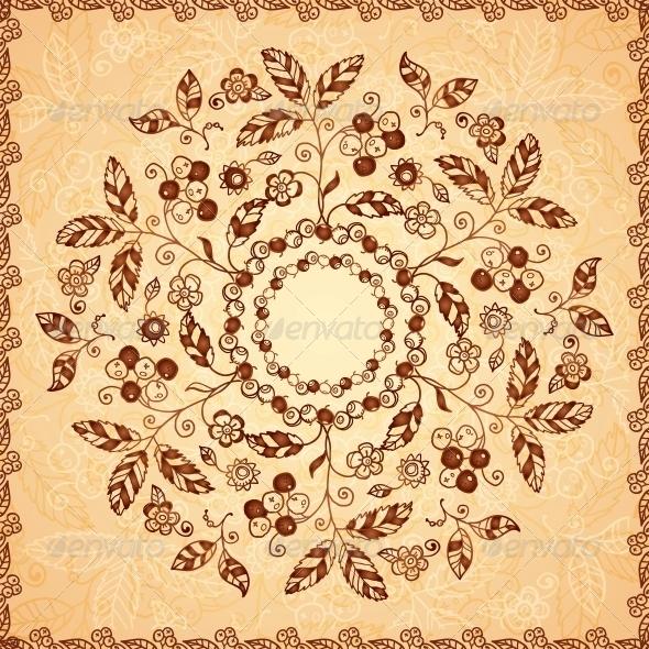 Ornate Vector Doodle Flowers Background - Flowers & Plants Nature