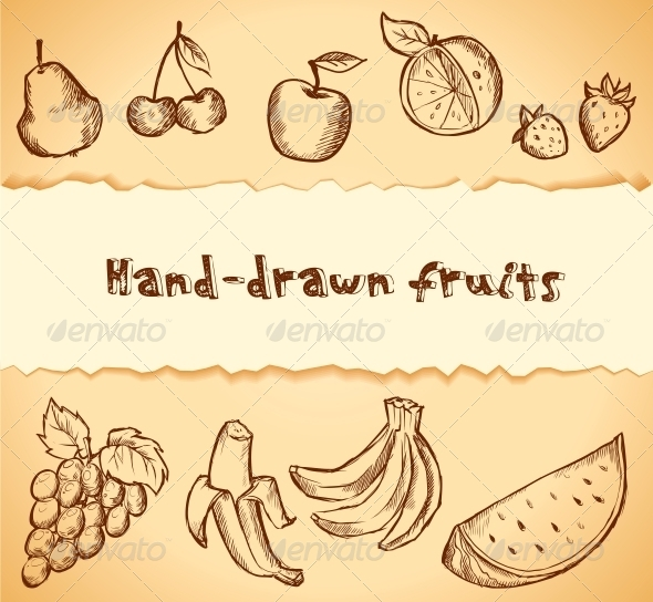 Vintage Sketched Fruits Icon Set - Food Objects