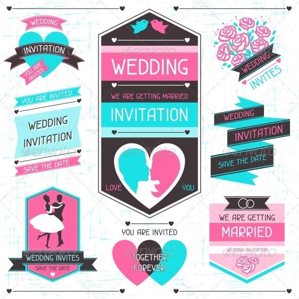 Wedding Invitation Retro Set of Design Elements - Weddings Seasons/Holidays