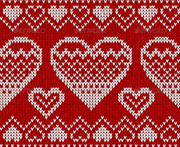 Valentines Day Red Knitted Seamless Pattern - Christmas Seasons/Holidays