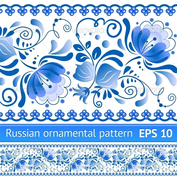 Russian National Blue Floral Pattern - Flowers & Plants Nature
