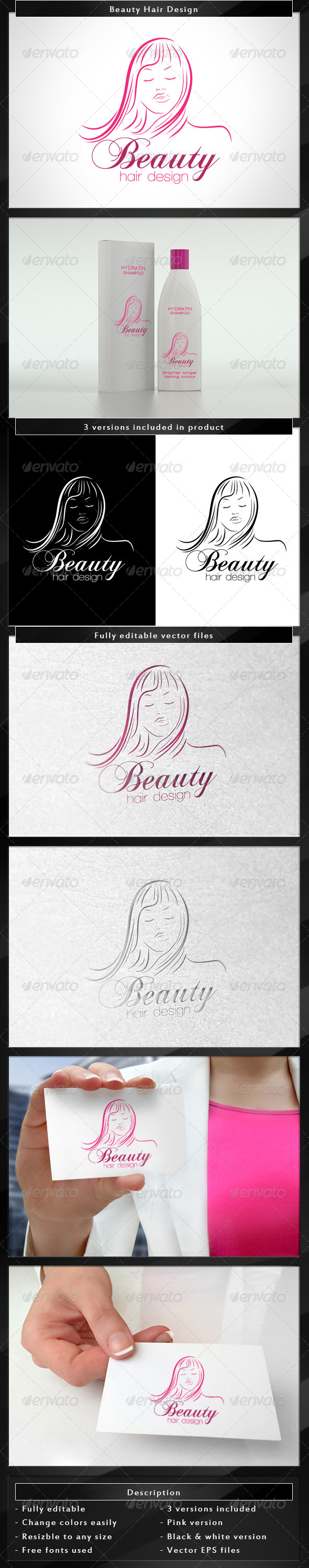 Beauty Hair Design - Humans Logo Templates