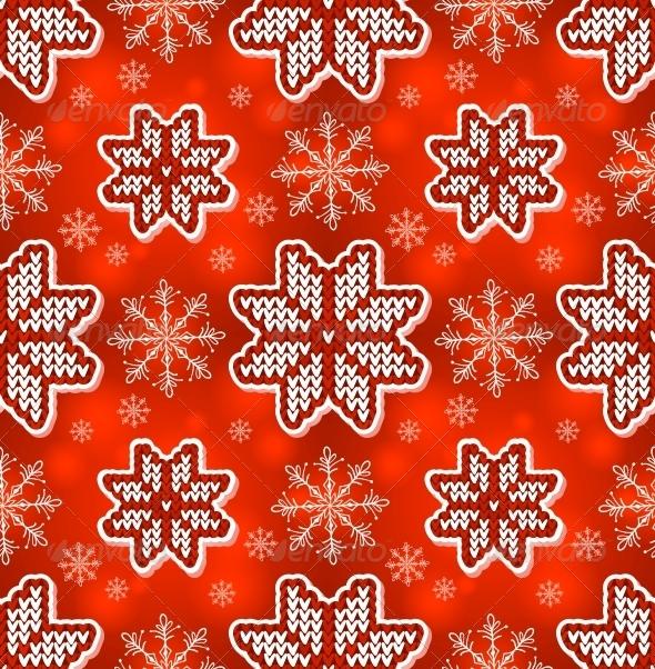 Red Christmas Embroidery Seamless Pattern - Christmas Seasons/Holidays