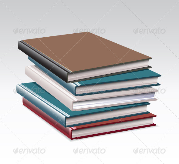 Stack of Books, 4 Colors - Man-made Objects Objects