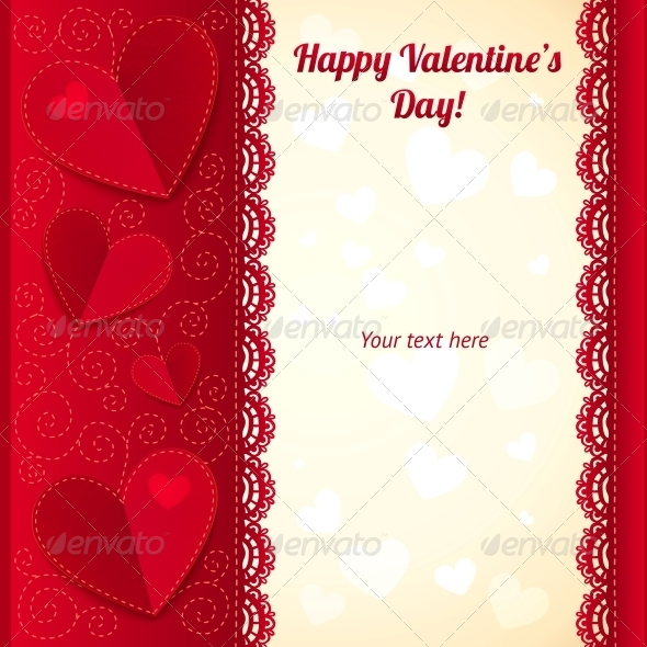 Vector Valentine's Day Greeting Card with Hearts - Valentines Seasons/Holidays