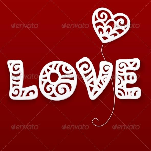 Vector Cut Out Paper Lacy Love Sign - Decorative Symbols Decorative