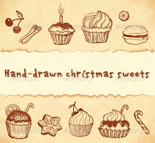 Isolated Bakery Hand-Drawn Illustrations Set - Birthdays Seasons/Holidays