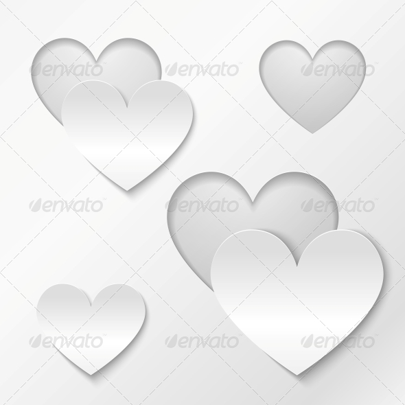 Cut Out Paper Hearts Valentines Day Card - Valentines Seasons/Holidays