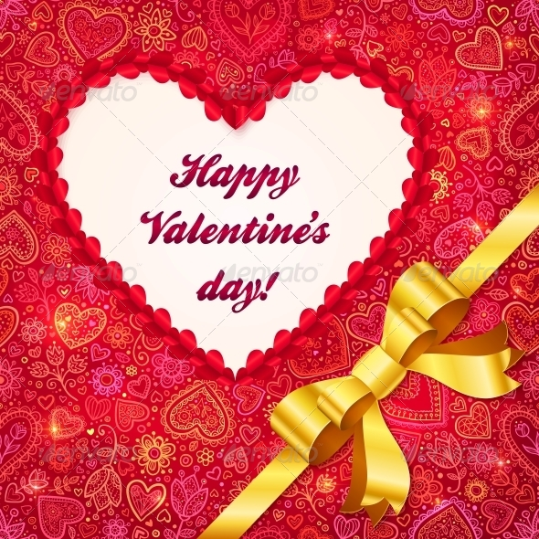 Valentines Day Greeting Card with Heart and Ribbon - Valentines Seasons/Holidays