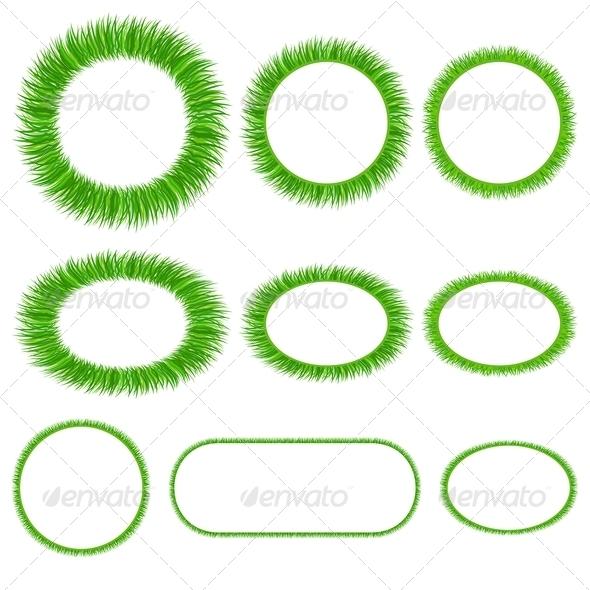 Set of Grass Frameworks - Backgrounds Decorative