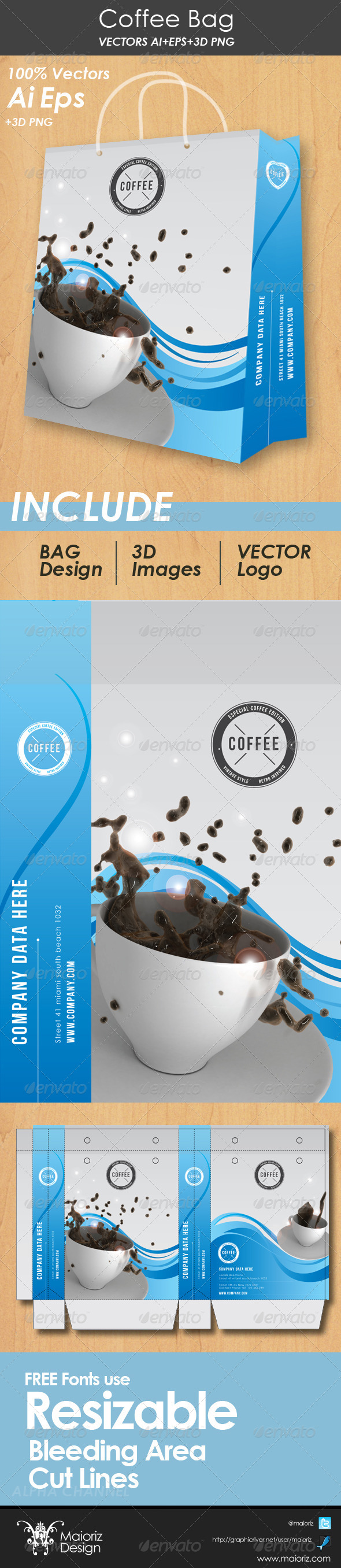 Coffee Bag Packaging - Packaging Print Templates