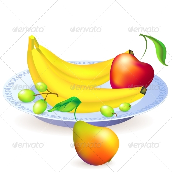 Plate of Fruits, Vector Illustration - Food Objects
