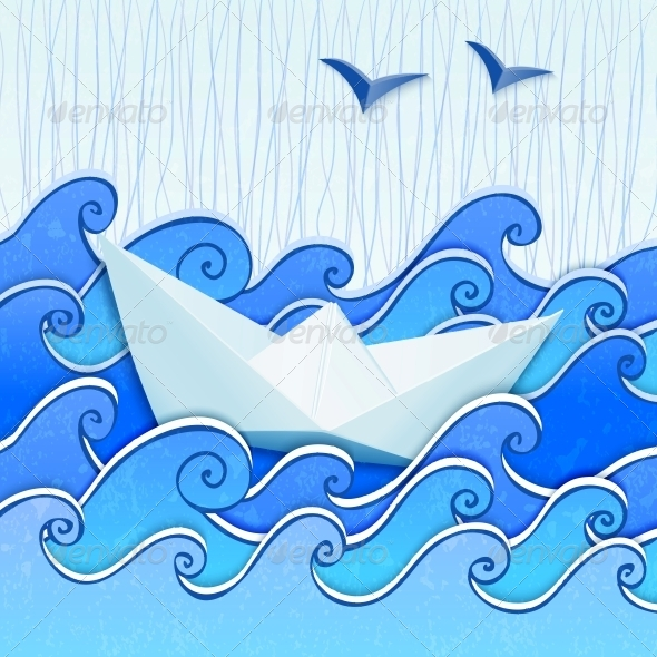 Paper Boat in the Blue Sketched Sea - Man-made Objects Objects
