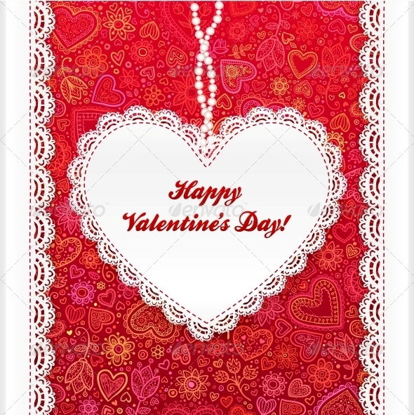 Vector Valentine's Day Lacy Heart Greeting Card - Valentines Seasons/Holidays