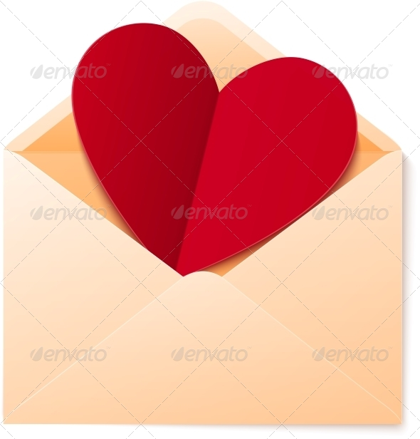 Vector Simple Envelope with Red Paper Heart - Valentines Seasons/Holidays
