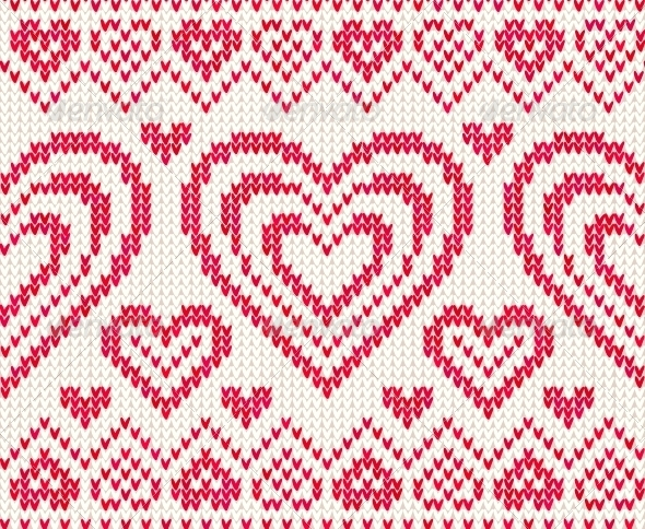 Valentines Day Knitted Vector Seamless Pattern - Christmas Seasons/Holidays