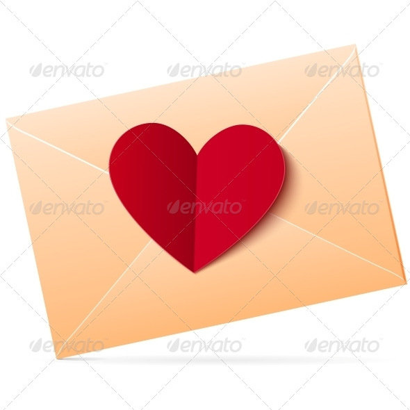 Vector Envelope with Red Paper Heart - Valentines Seasons/Holidays
