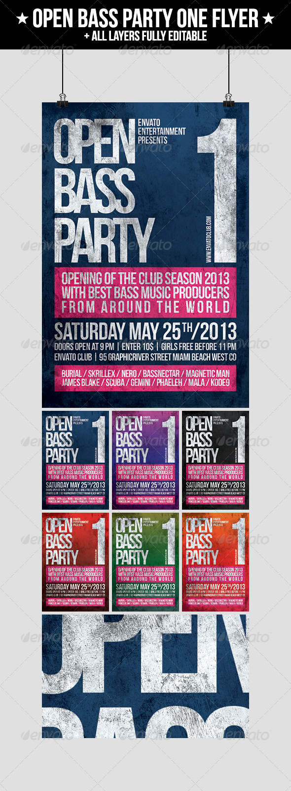 Open Bass Party One Flyer - Clubs & Parties Events