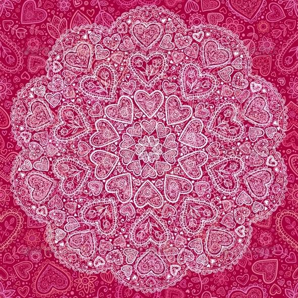 Ornamental Round Hearts Pattern in Indian Style - Decorative Symbols Decorative