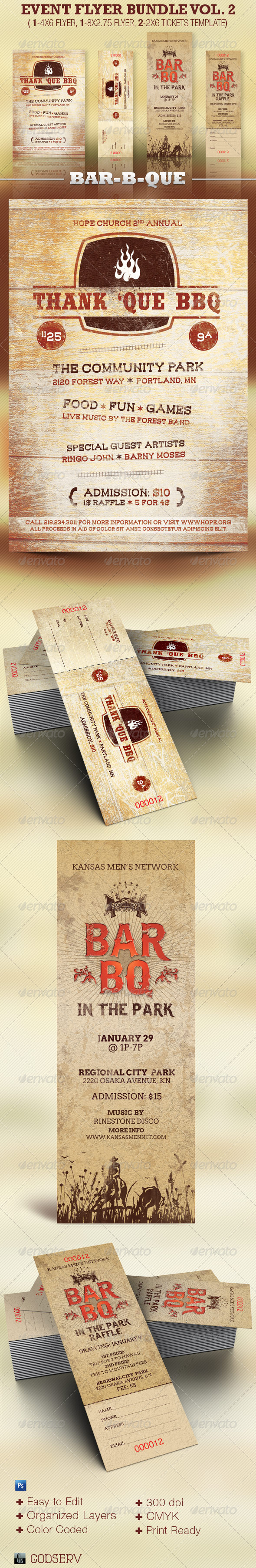 Barbecue Flyer Plus Ticket Template Bundle Vol 2 - Miscellaneous Events
