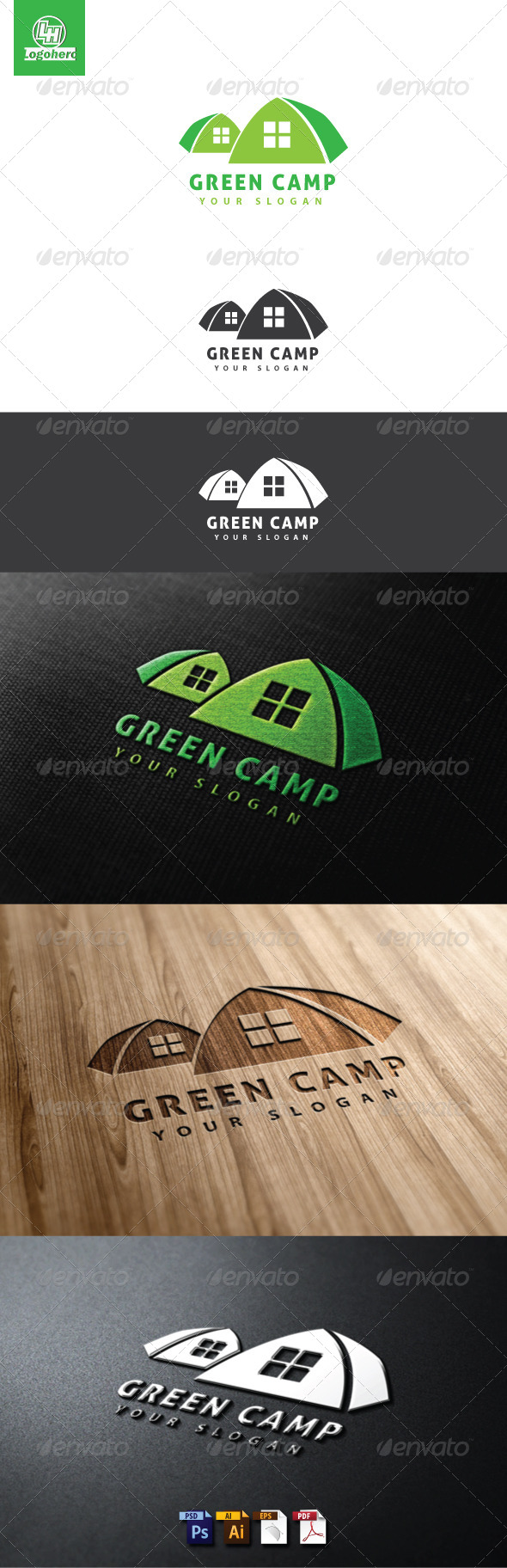 Green Camp Logo Template - Buildings Logo Templates