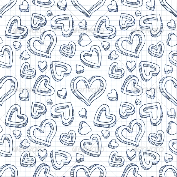 Seamless Doodle Pattern with Hand Drawn Hearts - Valentines Seasons/Holidays